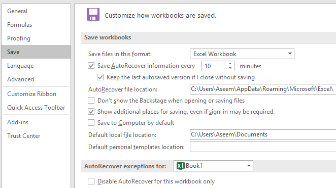 autorecover options excel