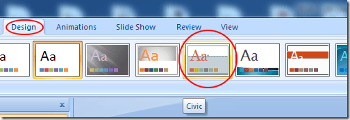 Apply the Civic Theme to a PowerPoint Presentation