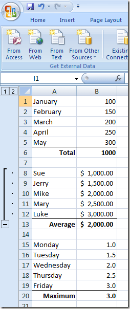 Group Rows in an Excel Worksheet