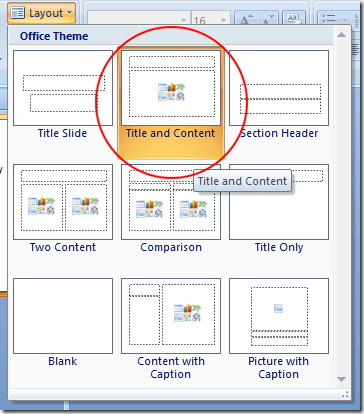 PowerPoint Title and Content Layout