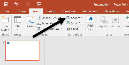 powerpoint insert shapes