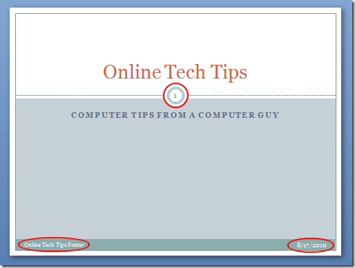 A Header and Footer in a PowerPoint Slide