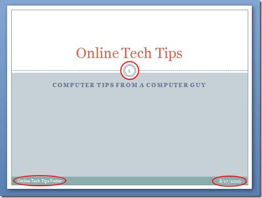 Encabezado y Pie de página en una Diapositiva de PowerPoint