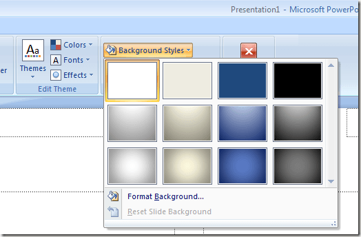 Choose a Background Style for PowerPoint Handouts