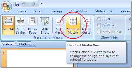 Click on the Handout Master Button in PowerPoint