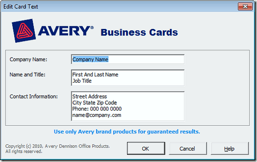 Avery Business Card Microsoft Word Template