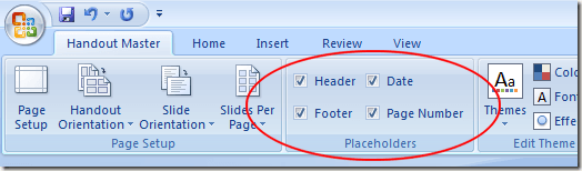 Placeholders Options for PowerPoint Handouts