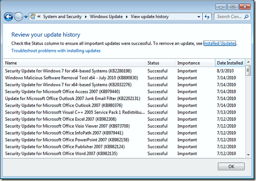 Security Update for Windows 7 for x64based SystemsSlow bootup and