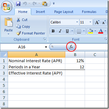 Find an APY from an APR in Excel