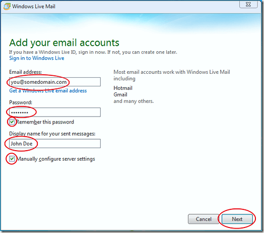 Add E-mail Information in Windows Live Mail