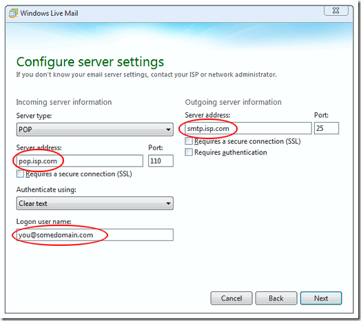 Add POP Server Information to Windows Live Mail