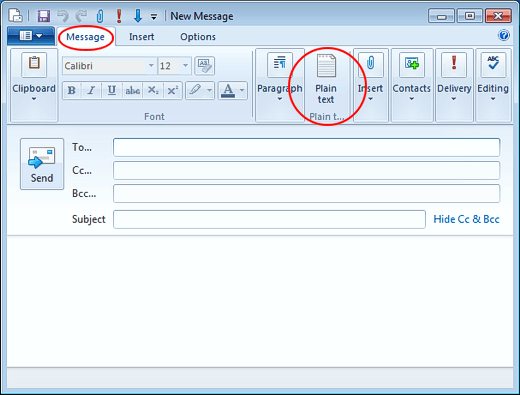 Change E-mail Messages to Plain Text Format in Windows Live Mail