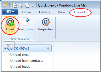 Click on Accounts and E-mail in Windows Live Mail