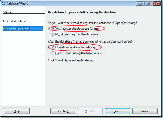 Register an OpenOffice Base Database