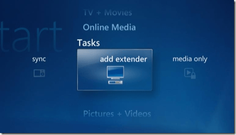agregar extender windows media center