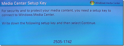 media center setup key