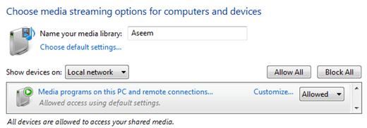 media streaming windows 7