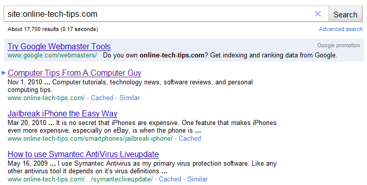 Type the following into the Google search box. site:whateverwebsiteyouwant.