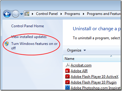 How to Turn Windows Features On or Off