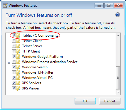 Turn on Windows Tablet PC Components in Windows