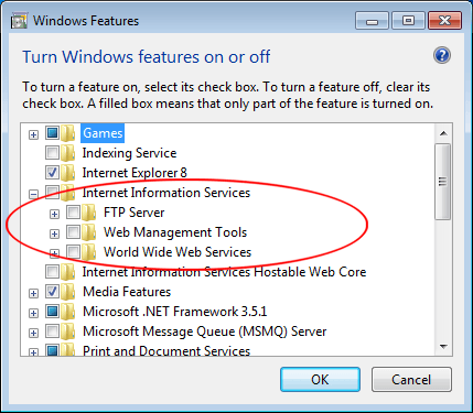 Enable Microsoft Internet Information Services (IIS) in