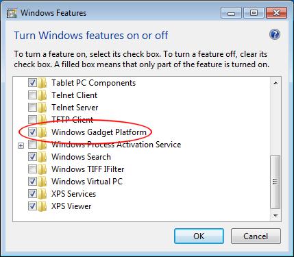 Turn Off the Gadgets Platform in Windows 7