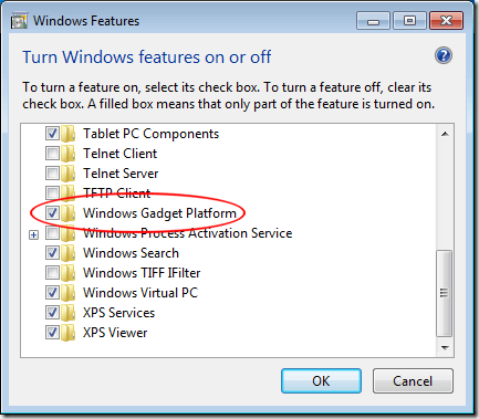 Uncheck Gadgets Platform in Turn Windows Features On or Off