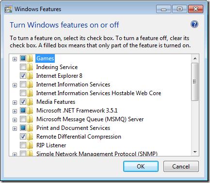 Windows Features Window