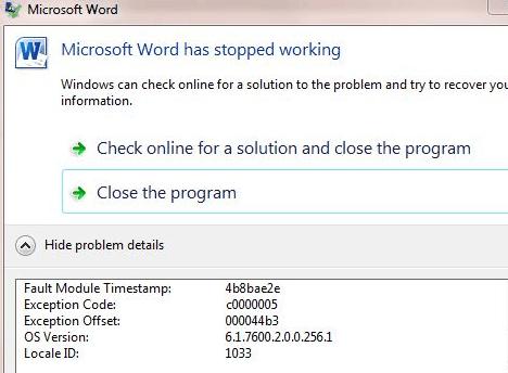 Fix de Microsoft Word ha Dejado de funcionar
