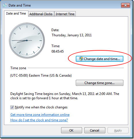 Change Date and Time to Fix Error 0x80072efe