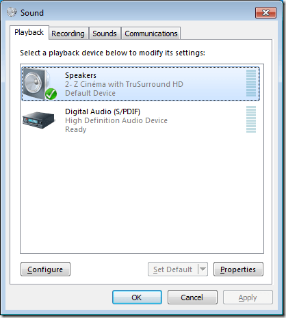 Configure Surround Sound Device in Windows 7