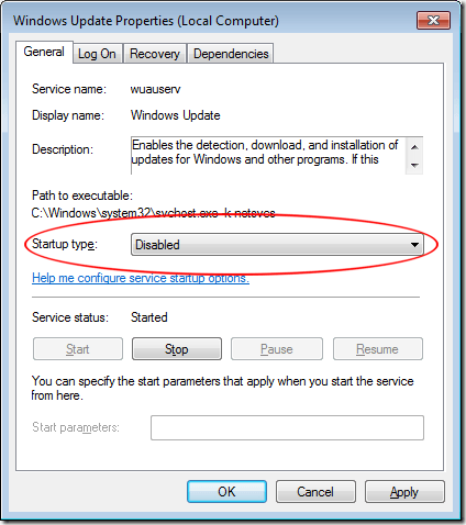 Set the Startup Type in Windows 7 Update Service