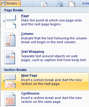 word online how to move section break