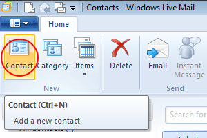 how do i edit my contacts in windows live mail