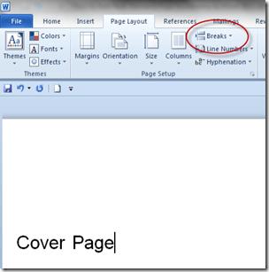 Page Layout - Breaks Menu Option