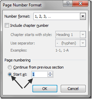 Page Number Format - Start at
