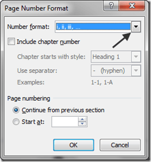Page Number Format Window