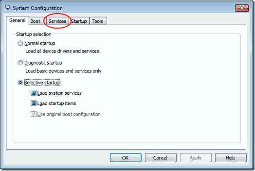 Services Tab on the System Configuration Window