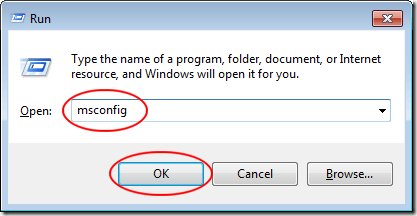 Type MSCONFIG in the Run Dialogue Window
