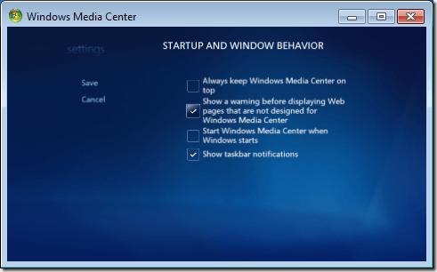 Windows Media Center Startup and Window Behavior Options
