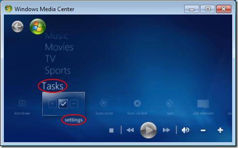 Windows Media Center Tasks Settings