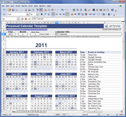 calendar template for openoffice