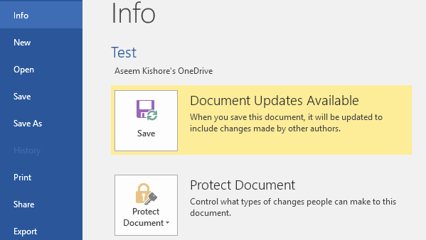 document updates available