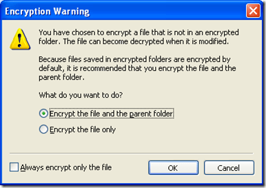 Encryption Warning