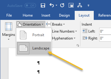 How to make different page orientation in word