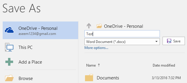 save to onedrive