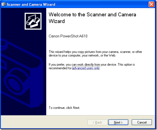 Microsoft Scanner and Camera Wizard