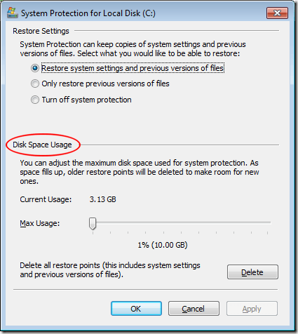 Adjust the Disk Space Reserved for Restore Points
