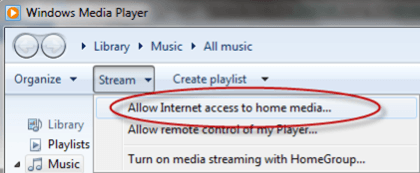 Allow Internet Access to home media
