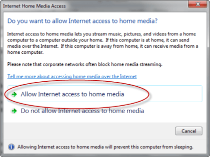 Allow Internet Home Media Access